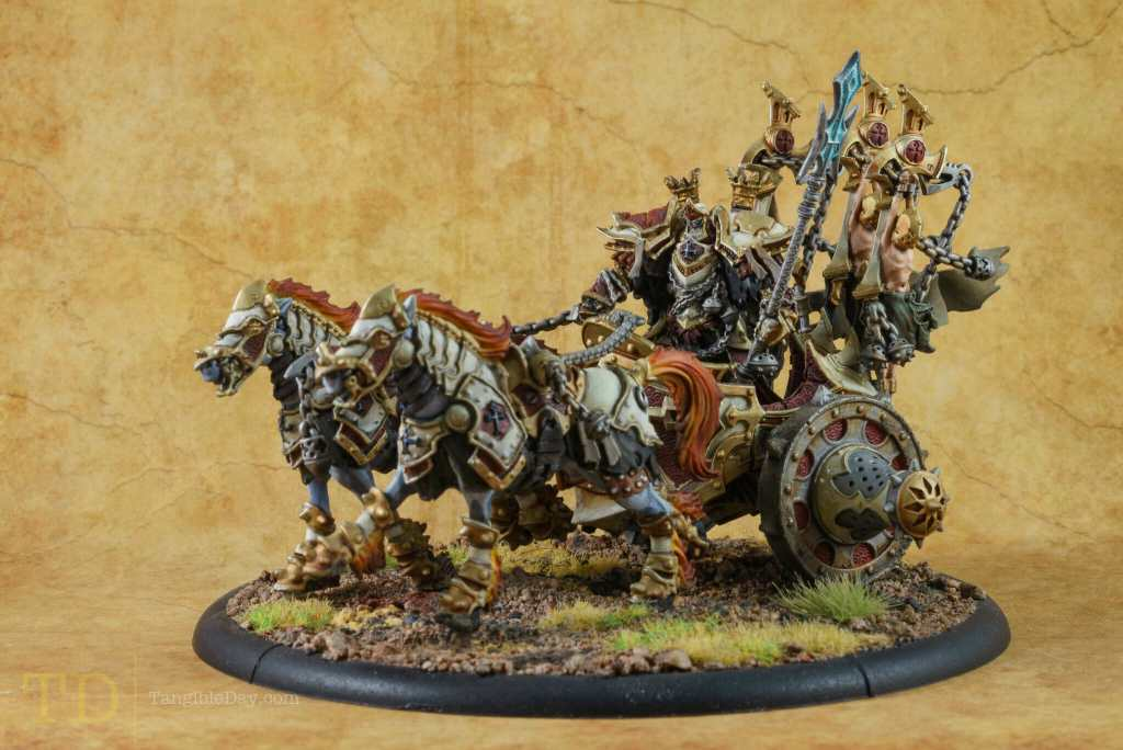 Glazing and coloring metallic painted miniatures and models - Menoth Warmachine - best metallic model paint for painting miniatures and models