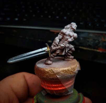 What is NMM and how do I paint non-metallic metal? Example NMM work in progress WIP on a miniature sword.