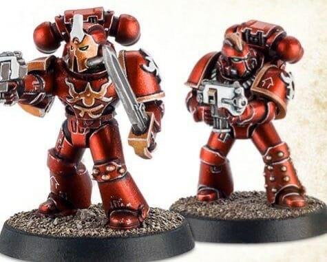 Red metallic paint on a space marines - best metallic paints for miniatures and models