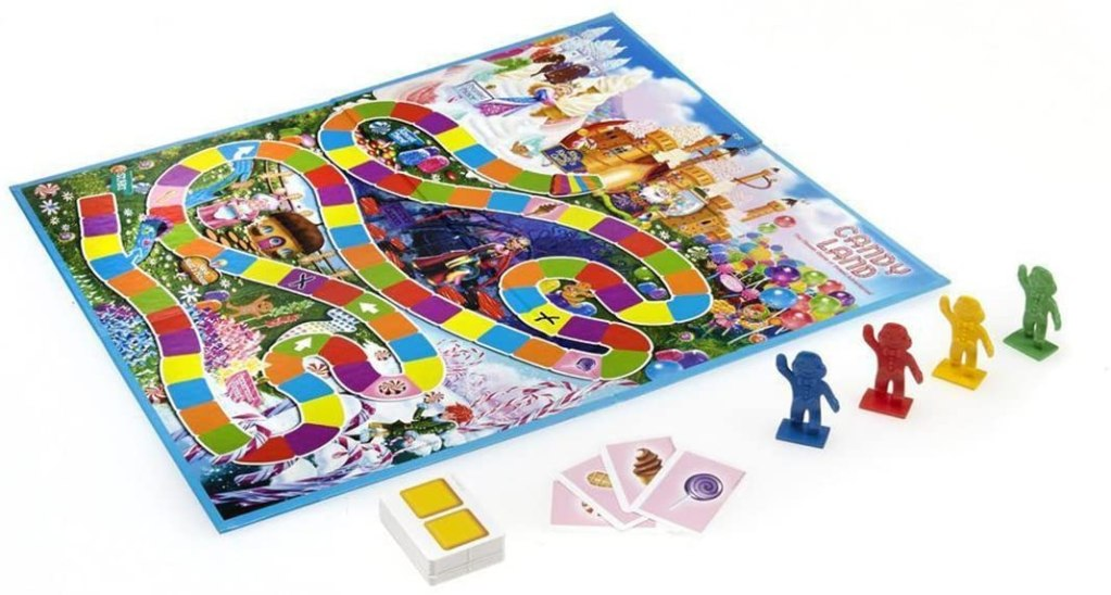 "Is Candy Land the ""Reality"" Game? - deconstructing candy land. Candy land the adult game for kids at heart - board with linear space colored track road"