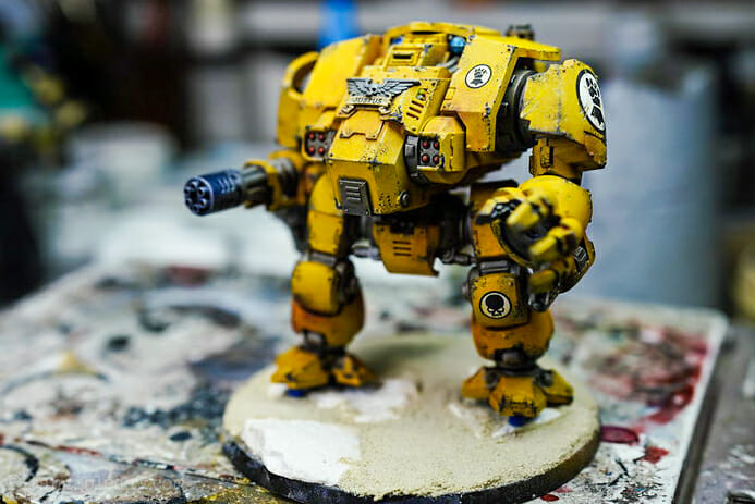 How-to Apply Warhammer Space Marine Decals (Tips) - How to use wet slide decals on miniatures and scale models - primaris dreadnought with decal