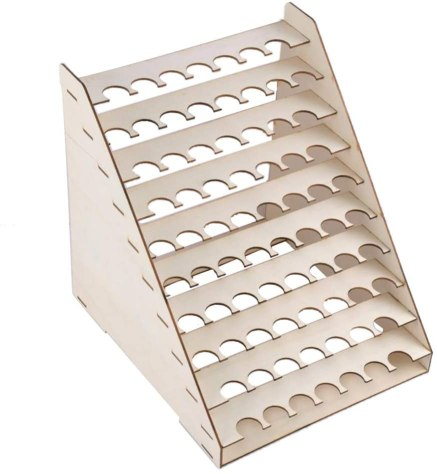 15 Useful Hobby Paint Storage Racks and Organizers. Recommended hobby paint storage, miniature painting station organizer. How to storage Vallejo army painter dropper bottles or Warhammer Citadel paint pots. Best paint display racks for miniature and model painters. Bonarty wooden paint rack storage stand organizer