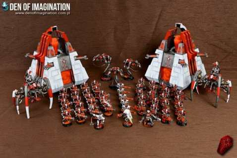 Necron Paint Schemes - 9 Color Motifs - how to paint Necrons - color schemes for Necrons, Necron Warriors, Sautekh or Zathanor Dynasty, and Necron dynasties - Indomitus Warhammer 40k Necron range color palette - 9 color schemes for Necron models and miniatures from Citadel Games Workshop - red army