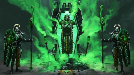 Necron Paint Schemes - 9 Color Motifs - how to paint Necrons - color schemes for Necrons, Necron Warriors, Sautekh or Zathanor Dynasty, and Necron dynasties - Indomitus Warhammer 40k Necron range color palette - 9 color schemes for Necron models and miniatures from Citadel Games Workshop - art work fan art necrons