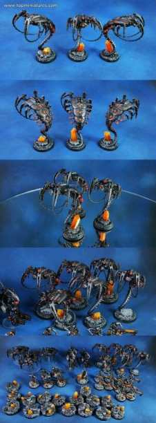Necron Paint Schemes - 9 Color Motifs - how to paint Necrons - color schemes for Necrons, Necron Warriors, Sautekh or Zathanor Dynasty, and Necron dynasties - Indomitus Warhammer 40k Necron range color palette - 9 color schemes for Necron models and miniatures from Citadel Games Workshop - black and orange