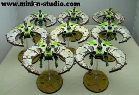 Necron Paint Schemes - 9 Color Motifs - how to paint Necrons - color schemes for Necrons, Necron Warriors, Sautekh or Zathanor Dynasty, and Necron dynasties - Indomitus Warhammer 40k Necron range color palette - 9 color schemes for Necron models and miniatures from Citadel Games Workshop - necron flyers in white