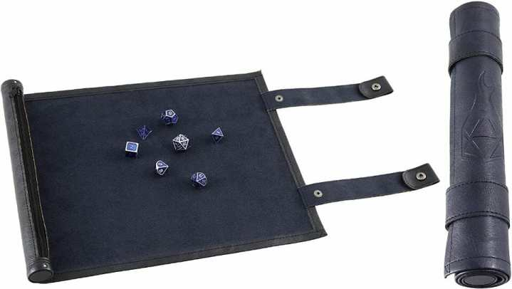 13 Best Dice Trays for Tabletop Games (Review) – best dice trays for wargaming – Warhammer dice tray and storage – best dice tray for Warhammer 40k and miniature games – boardgame dice tray – best dice trays – dice trays for dungeons and dragons, D&D, and roleplaying games (RPG) – Forged Dice Co. Scroll Dice Tray and Rolling Mat