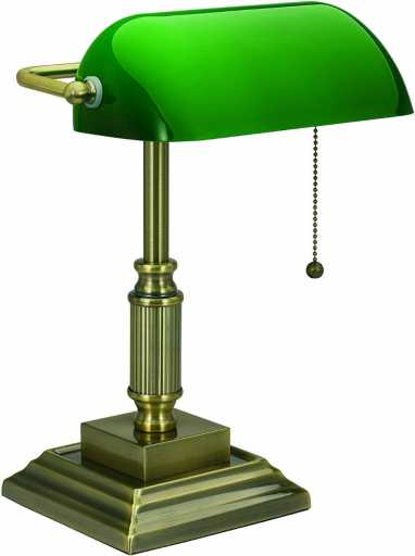 15 Cool Office Lamps for Any Workspace – cool desk lamps – cool lamps – office lamp ideas – unique desk lamps – best lamps for office work – unique office lamp - Banker lamp with green light shade