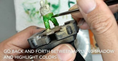 Painting a zombie RPG miniature with oil paints - painting RPG miniatures - oil painting miniatures - origin miniatures - how to paint rpg miniatures - how to paint dungeon and dragons miniatures - painting miniatures and models for role playing games - oil painting 28mm miniatures - blending go back and forth
