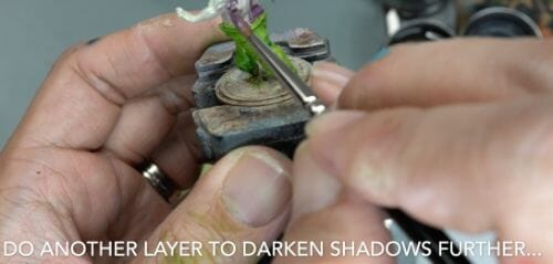 Painting a zombie RPG miniature with oil paints - painting RPG miniatures - oil painting miniatures - origin miniatures - how to paint rpg miniatures - how to paint dungeon and dragons miniatures - painting miniatures and models for role playing games - oil painting 28mm miniatures - layer in to make color rich