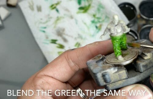 Painting a zombie RPG miniature with oil paints - painting RPG miniatures - oil painting miniatures - origin miniatures - how to paint rpg miniatures - how to paint dungeon and dragons miniatures - painting miniatures and models for role playing games - oil painting 28mm miniatures - blend your other colors, like the green