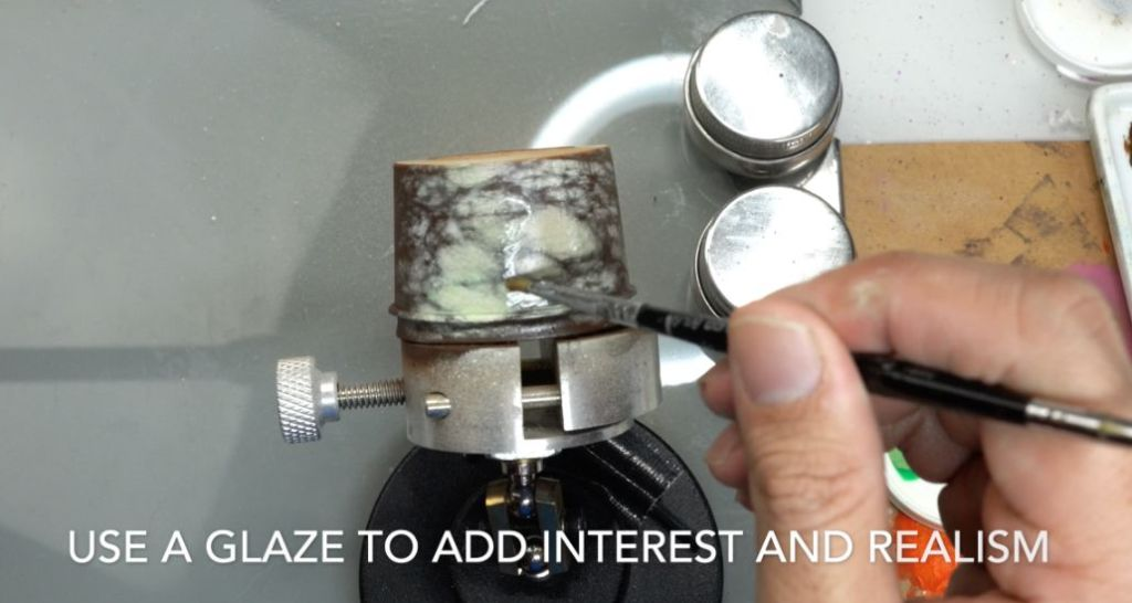 How to paint marble effects on miniatures – painting white marble – painting stone effect miniatures -how to paint marble on miniatures and models – airbrush stencil marble – marbleizing miniatures – airbrushing marble effect -glazing adds interest and realism