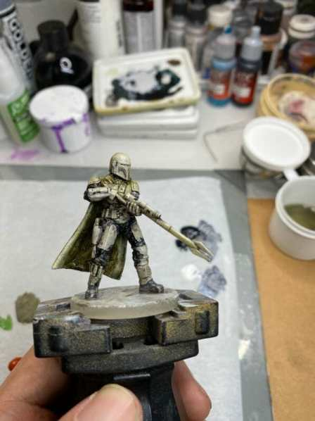 """Oil Painting the Star Wars """"Mandalorian"""" Alla Prima - how to paint a 3D printed resin model with oil paint - speed painting miniatures with oils - cycle between areas"""