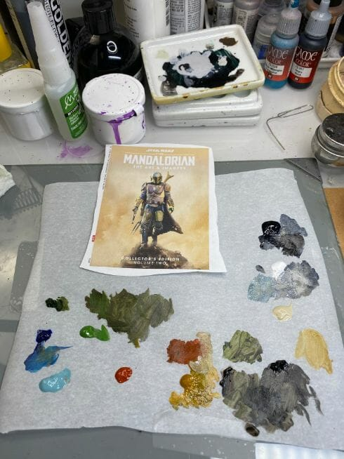 """Oil Painting the Star Wars """"Mandalorian"""" Alla Prima - how to paint a 3D printed resin model with oil paint - speed painting miniatures with oils - printout on painting palette"""