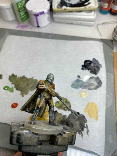 """Oil Painting the Star Wars """"Mandalorian"""" Alla Prima - how to paint a 3D printed resin model with oil paint - speed painting miniatures with oils - basing all the major colors on the model"""