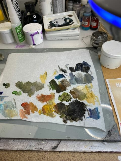 """Oil Painting the Star Wars """"Mandalorian"""" Alla Prima - how to paint a 3D printed resin model with oil paint - speed painting miniatures with oils - mixing oil paints on the palette to match the reference photo"""