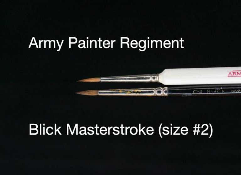 "The Army Painter Wargamer ""Regiment"" Brush Review for Miniatures - Brush Review of the Army Painter Wargamer Regiment for Painting Miniatures and Models - Regiment Brush Review for miniature painting - Best Army Painter brush for miniatures and models - Regiment brush for painting warhammer 40k and other tabletop wargaming miniatures - regiment vs blick masterstroke brush"