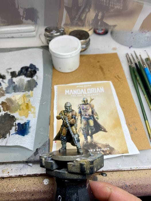 """Oil Painting the Star Wars """"Mandalorian"""" Alla Prima - how to paint a 3D printed resin model with oil paint - speed painting miniatures with oils - refer to the photo for colors and paint placement"""