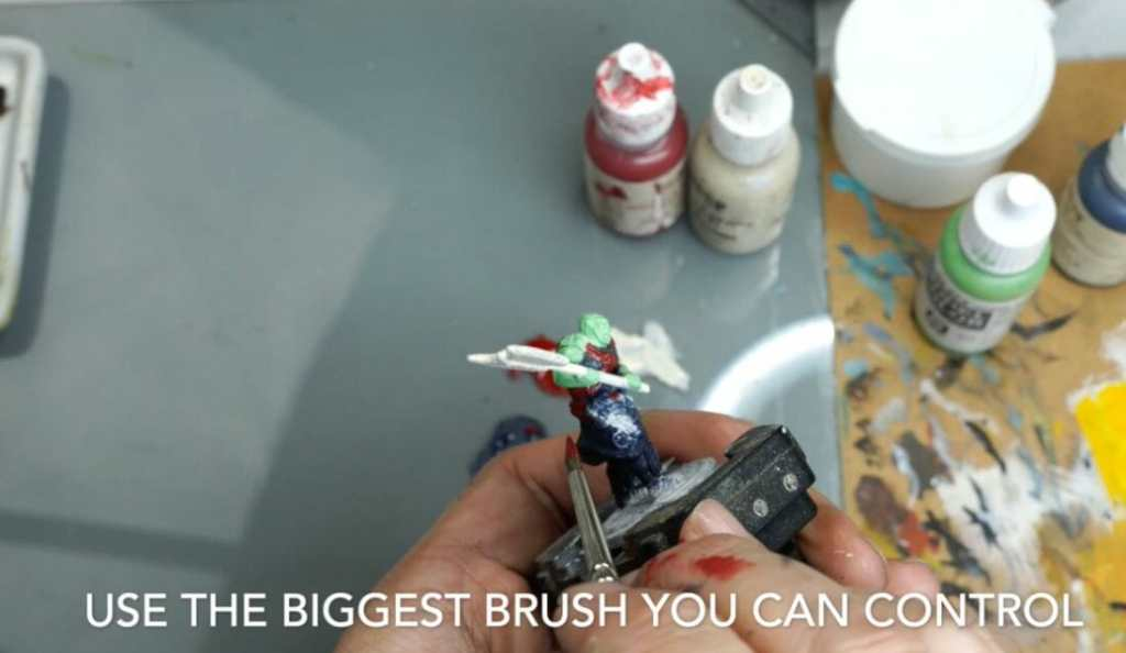 Speed painting tabletop miniatures - How to speed paint RPG miniatures and models - painting bulk dnd miniatures - how to paint models faster for tabletop games - 5 easy steps for painting miniatures fast - use a big brush for speed painting