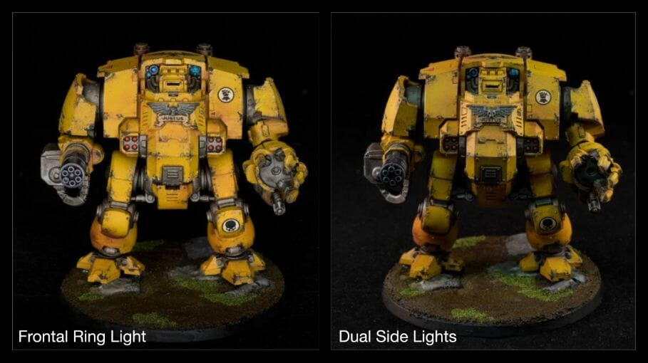 How to take better miniature pictures with a ring light - how to improve your miniature photography - why good light helps improve your miniature and model photography - yesker ring light review for miniature photography - imperial fist redemptor dreadnought space marine primaris photography