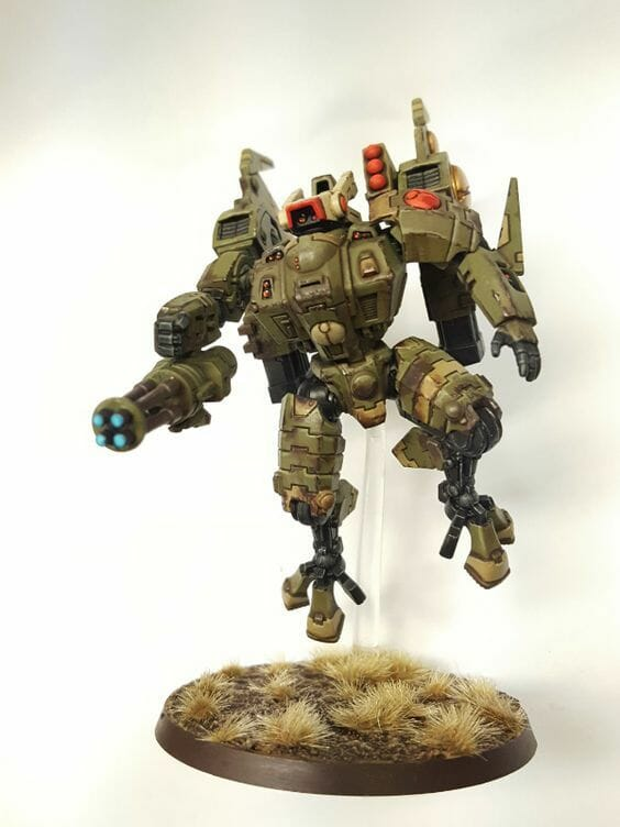 Tau sept color schemes, caste color schemes for Tau, T'au paint color scheme ideas – Grimdark Tau style, Blachitsu Tau painting, how to paint Tau miniatures, Games Workshop Tau paint schemes – How to paint grimdark Tau – painting Blanchitsu Tau - olive green military tau