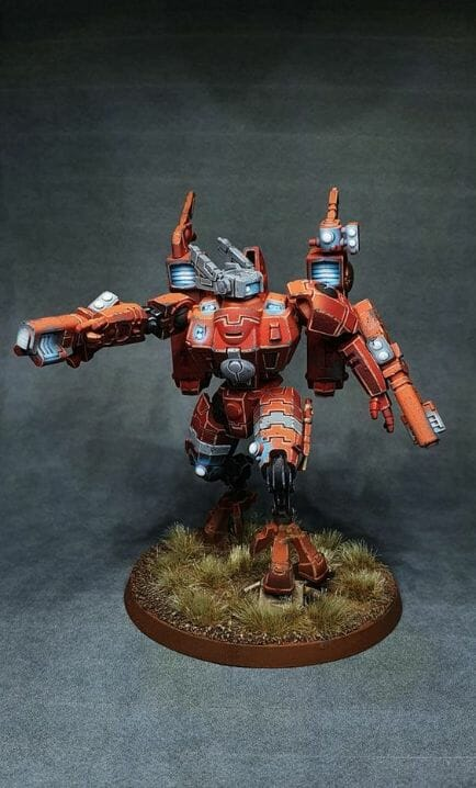 Tau sept color schemes, caste color schemes for Tau, T'au paint color scheme ideas – Grimdark Tau style, Blachitsu Tau painting, how to paint Tau miniatures, Games Workshop Tau paint schemes – How to paint grimdark Tau – painting Blanchitsu Tau - orange blended
