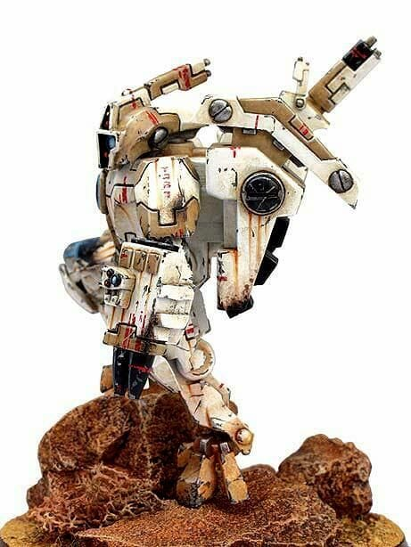 Tau sept color schemes, caste color schemes for Tau, T'au paint color scheme ideas – Grimdark Tau style, Blachitsu Tau painting, how to paint Tau miniatures, Games Workshop Tau paint schemes – How to paint grimdark Tau – painting Blanchitsu Tau - weathered white sand color theme