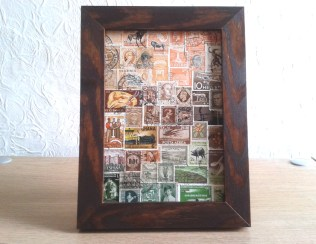 A new imaginary landscape collage in solid wooden frame