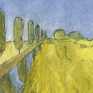 Watercolour Landscape of Somerset