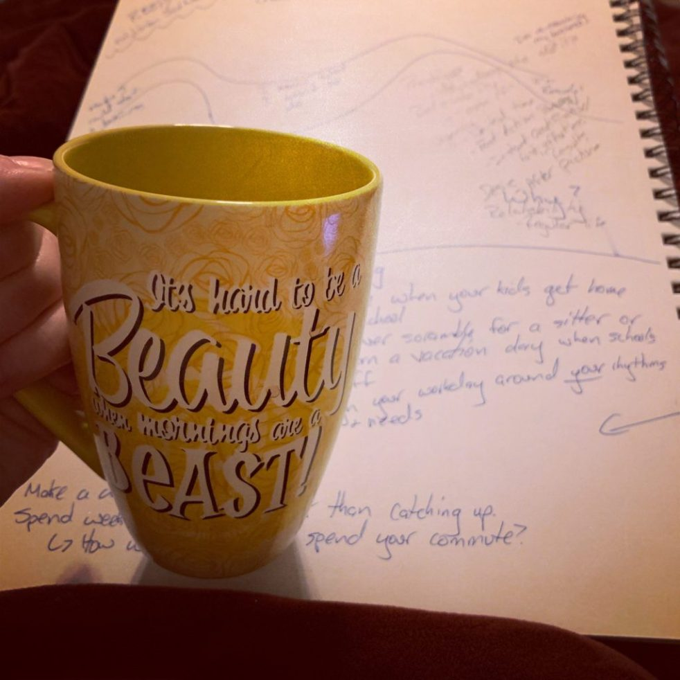 coffee cup with journal