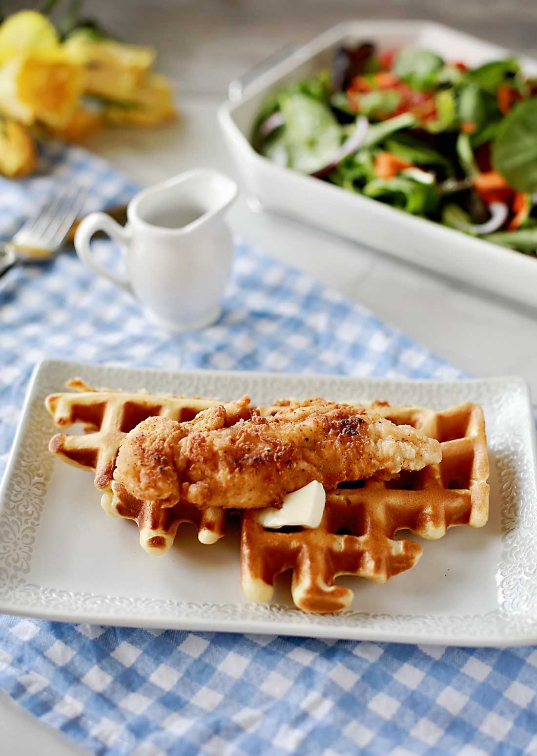 Amazing fried chicken and waffles by Flirting with Flavor