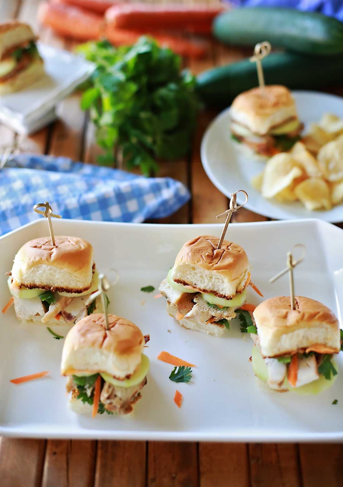 Super incredibly great sliders! We couldn't serve these fast enough, everybody loved them! Banh mi for the win!