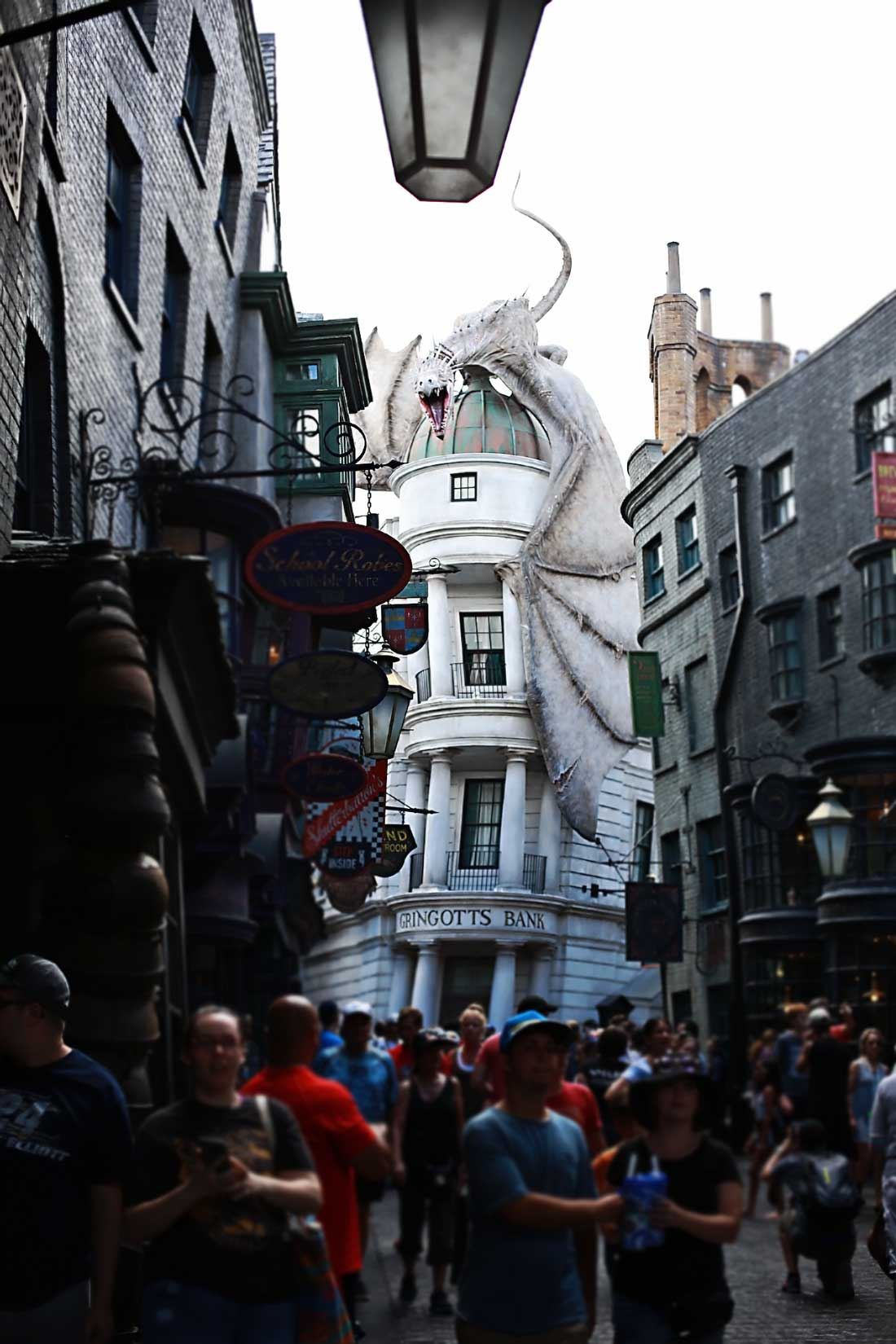 The dragon atop Gringott's bank at Harry Potter World