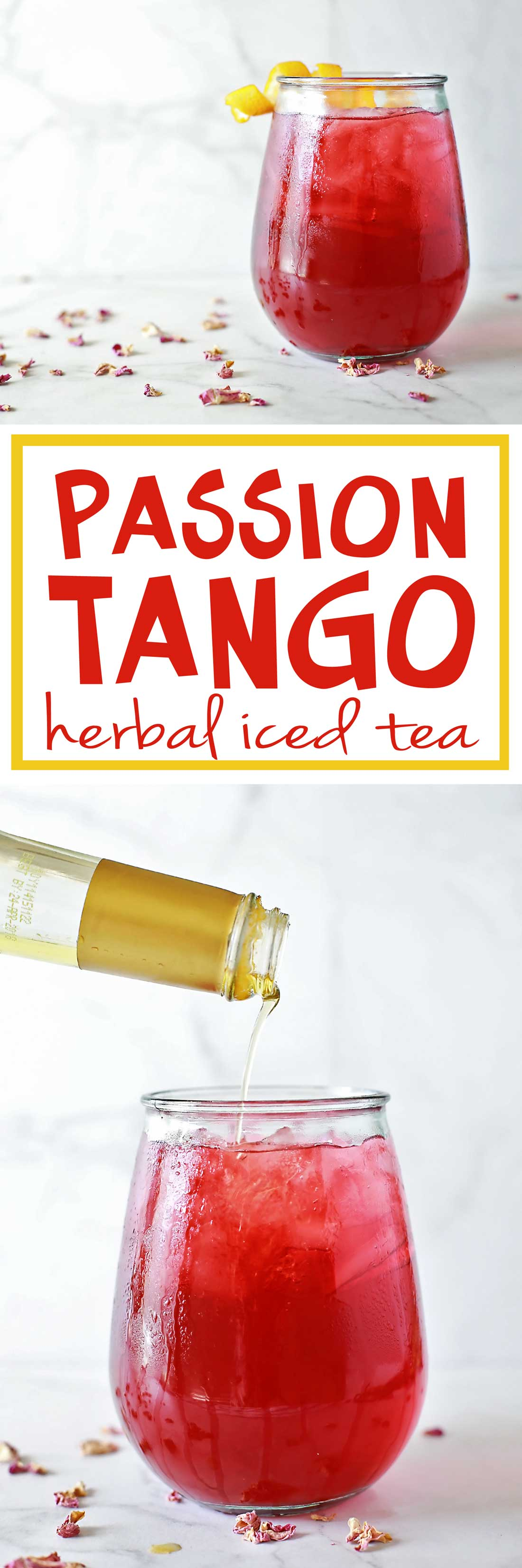 Amazing Starbucks copy cat recipe by Flriting with flavor. Passion Tango Sweet Herbal iced Tea
