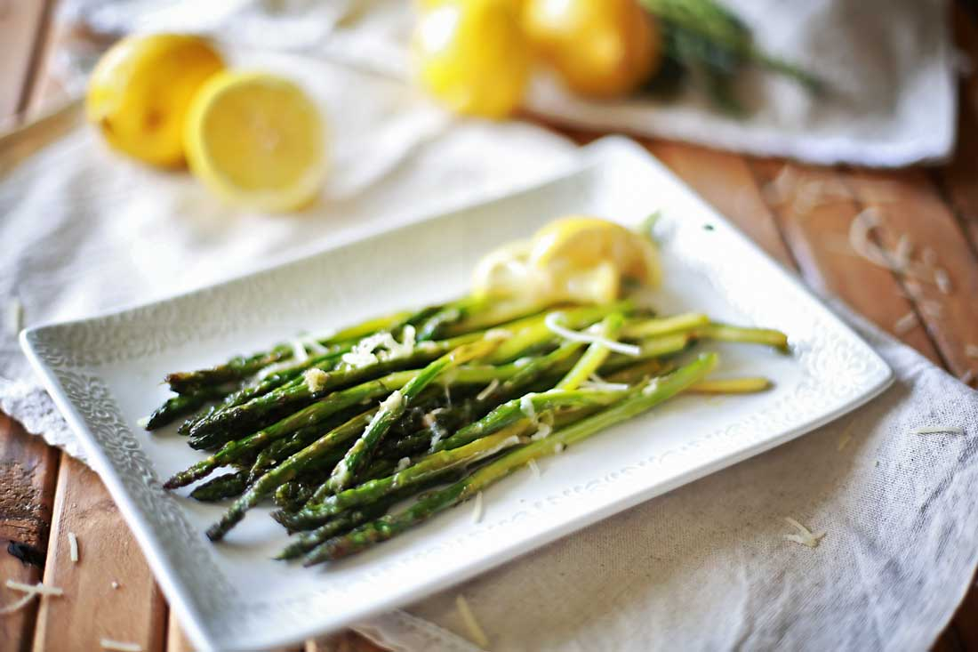 Lemon and Parmesan roasted asparagus by Flirting with Flavor