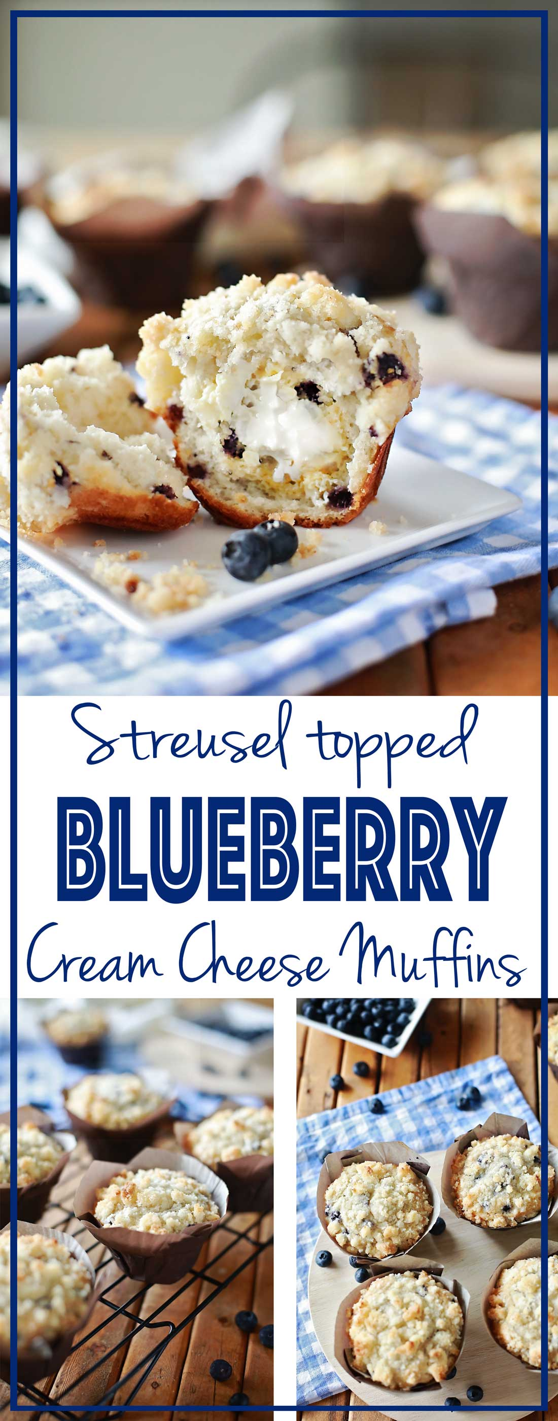 The best Blueberry Muffins EVER!!! Cream Cheese and Blueberries Muffins topped with Streusel!!!