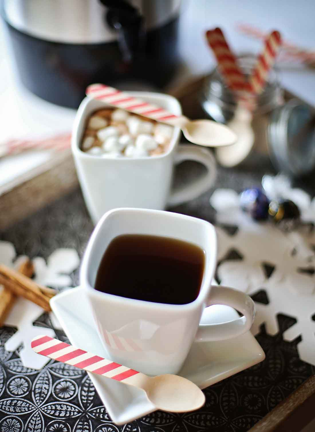 Hot coffee and hot cocoa bar tutorial and recipes!