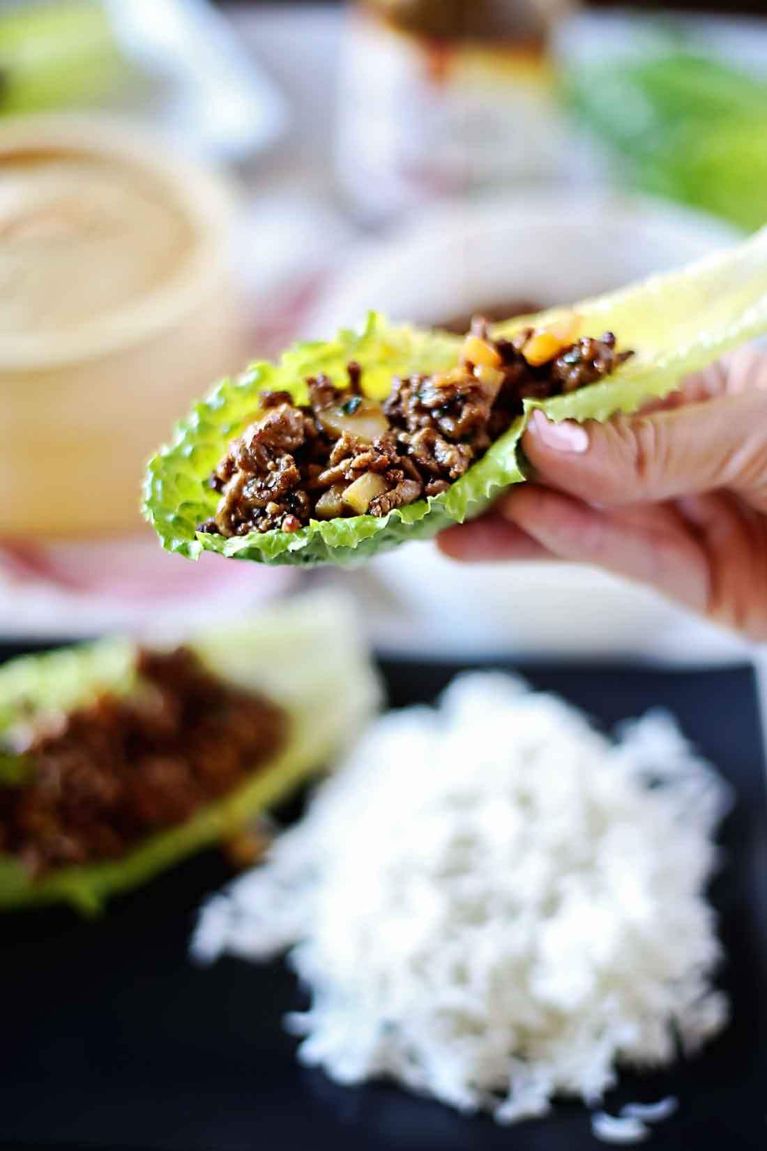 10 minute beef lettuce wraps that are soooo good!