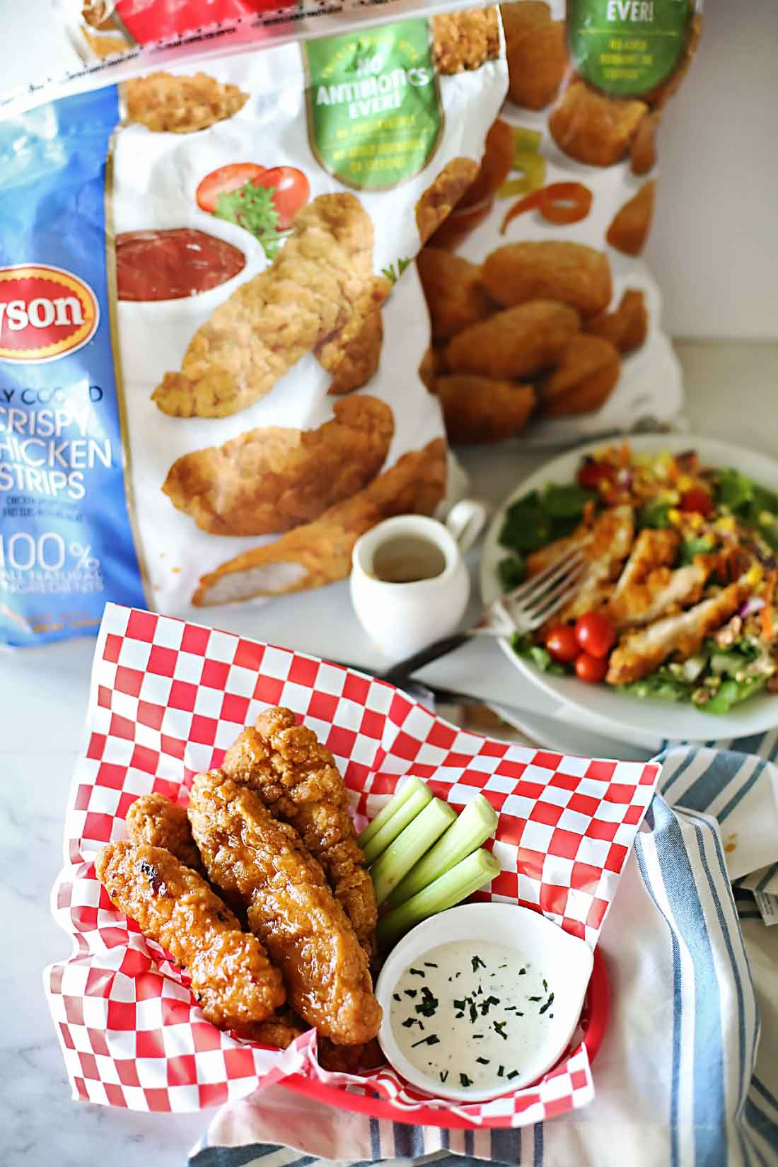 Asian Chili Sweet Heat Sticky Fingers recipe by Flirtign with Flavor with Tyson foods no antibiotics ever Crispy Chicken Strips