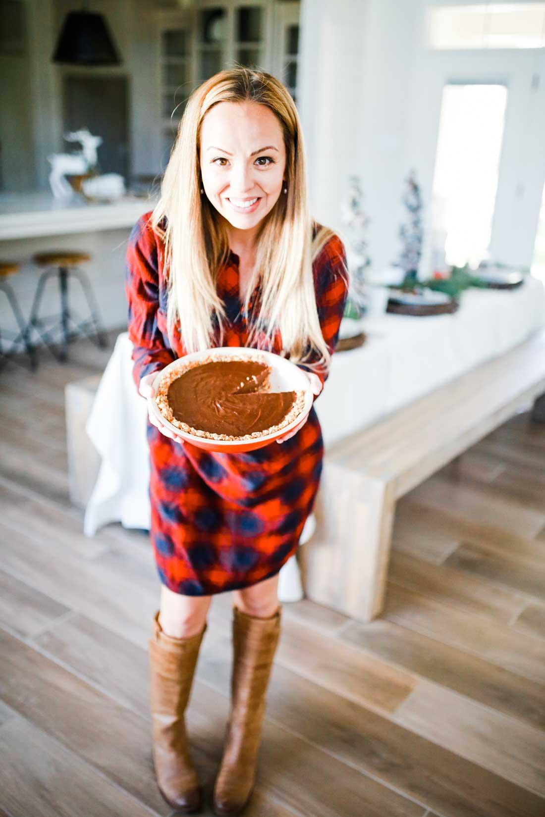 AMAZING Chocolate truffle pie with a pretzel crust. WOW!!!