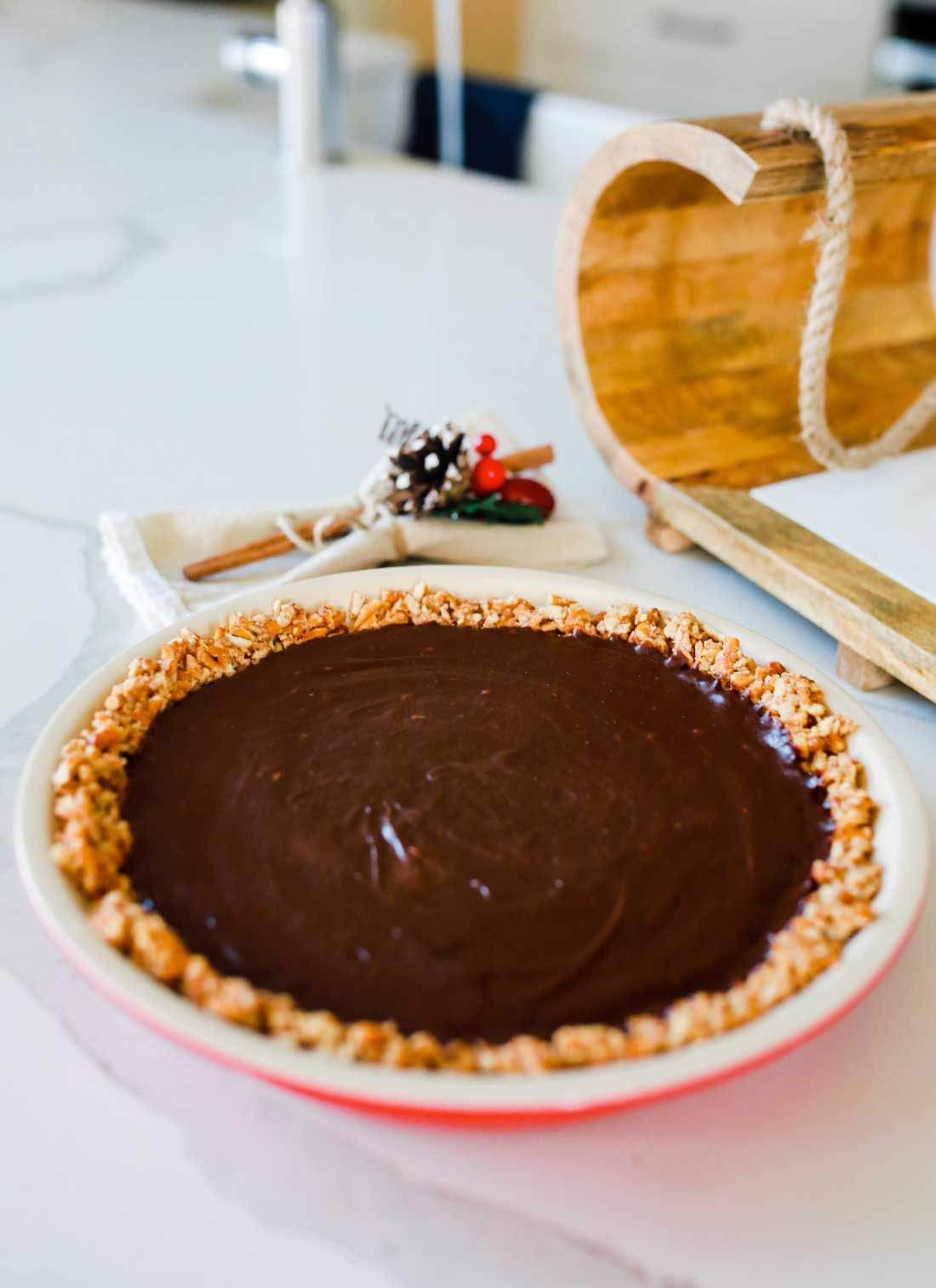 Chocolate truffle pie with a pretzel crust!