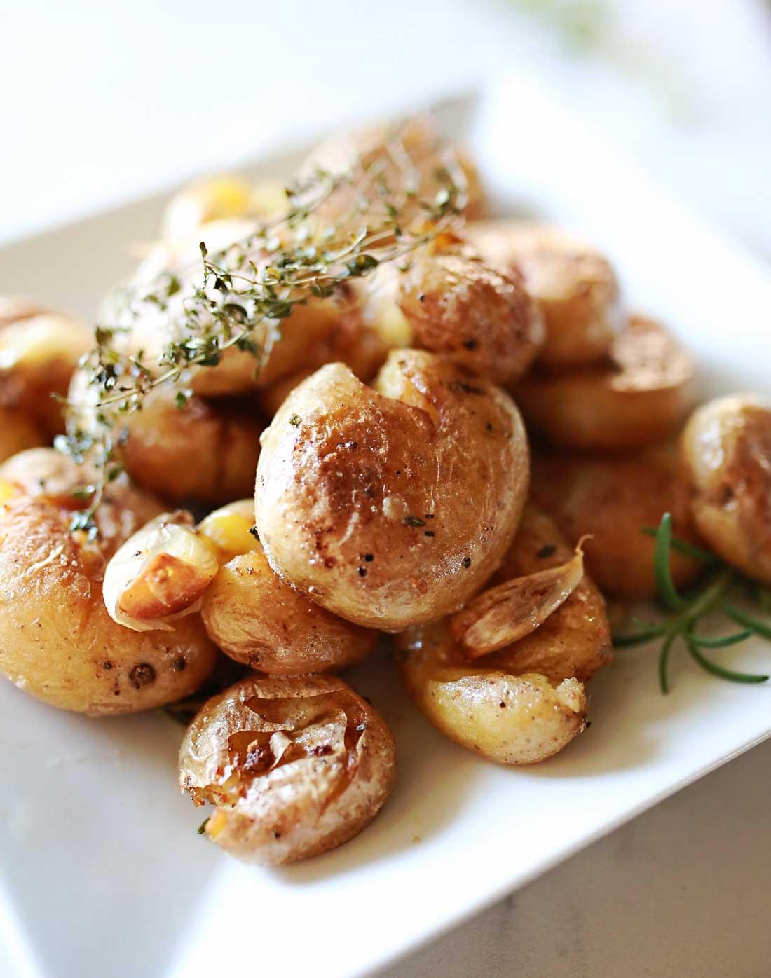 Smashed potatoes, roasted marble potatoes that taste glorious!