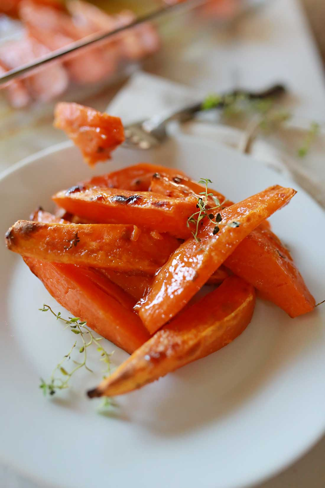 Caramelized Sweet Potato Wedges with herbs! Delightful!!!