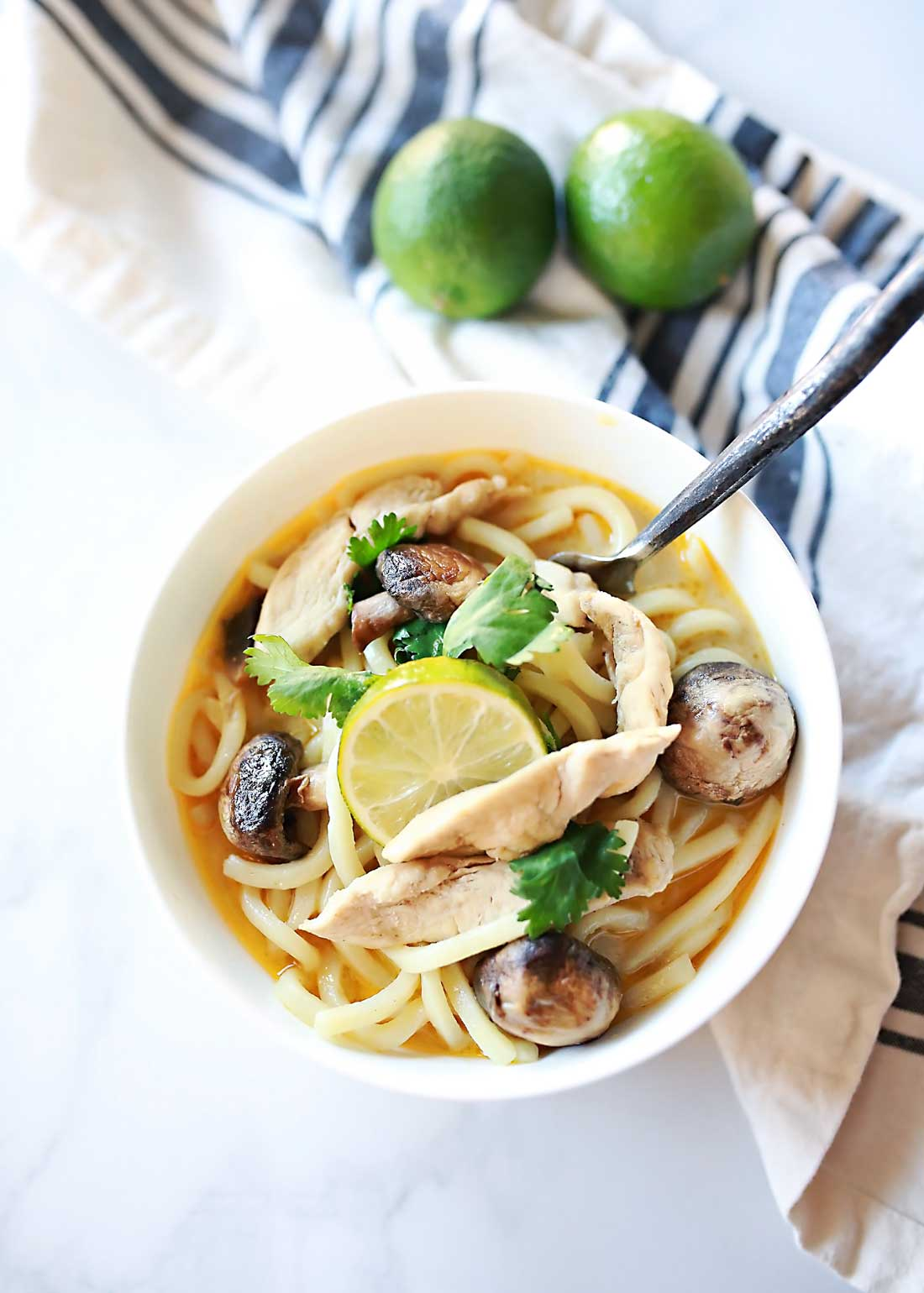 Supremely delicious Thai COcnut and Lemongrass soup over udon noodles!