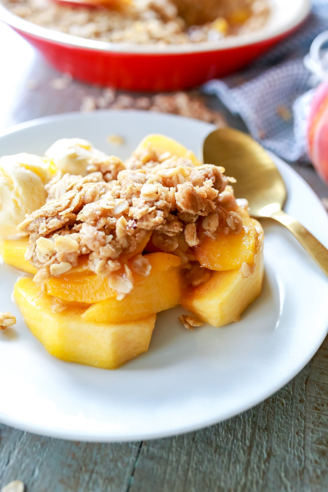 Best Peach Crisp ever! made with microwave brown butter