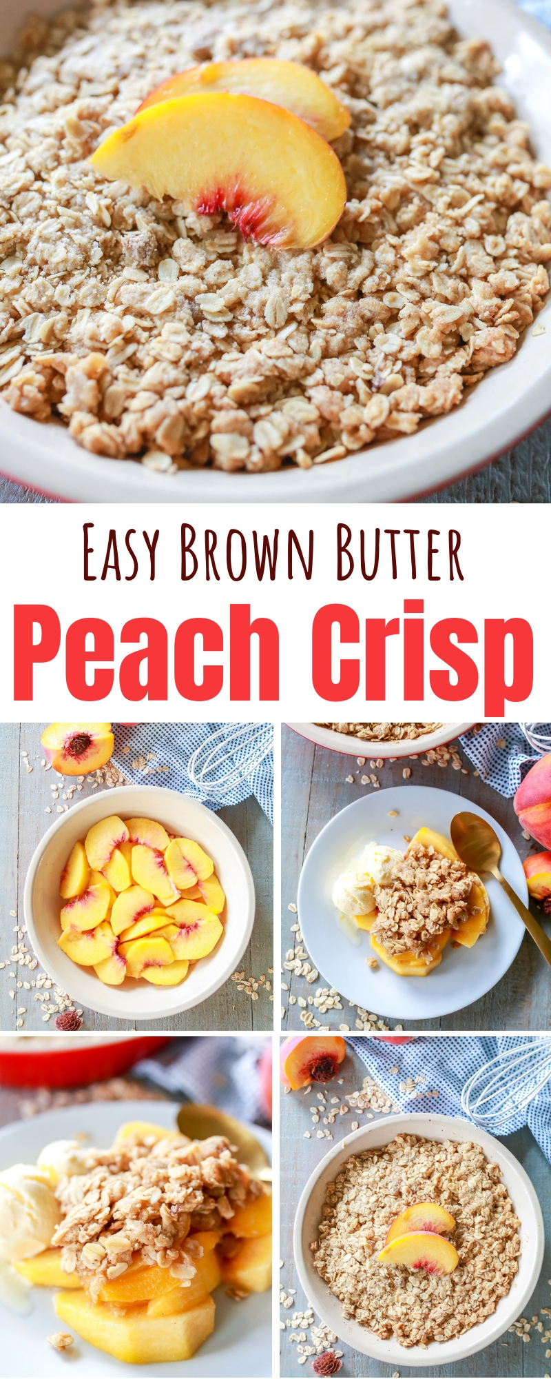 Peach Crisp that is SOOOO good!!! And the brown butter is made in the microwave so it's crazy easy to make too! Love this recipe so much!