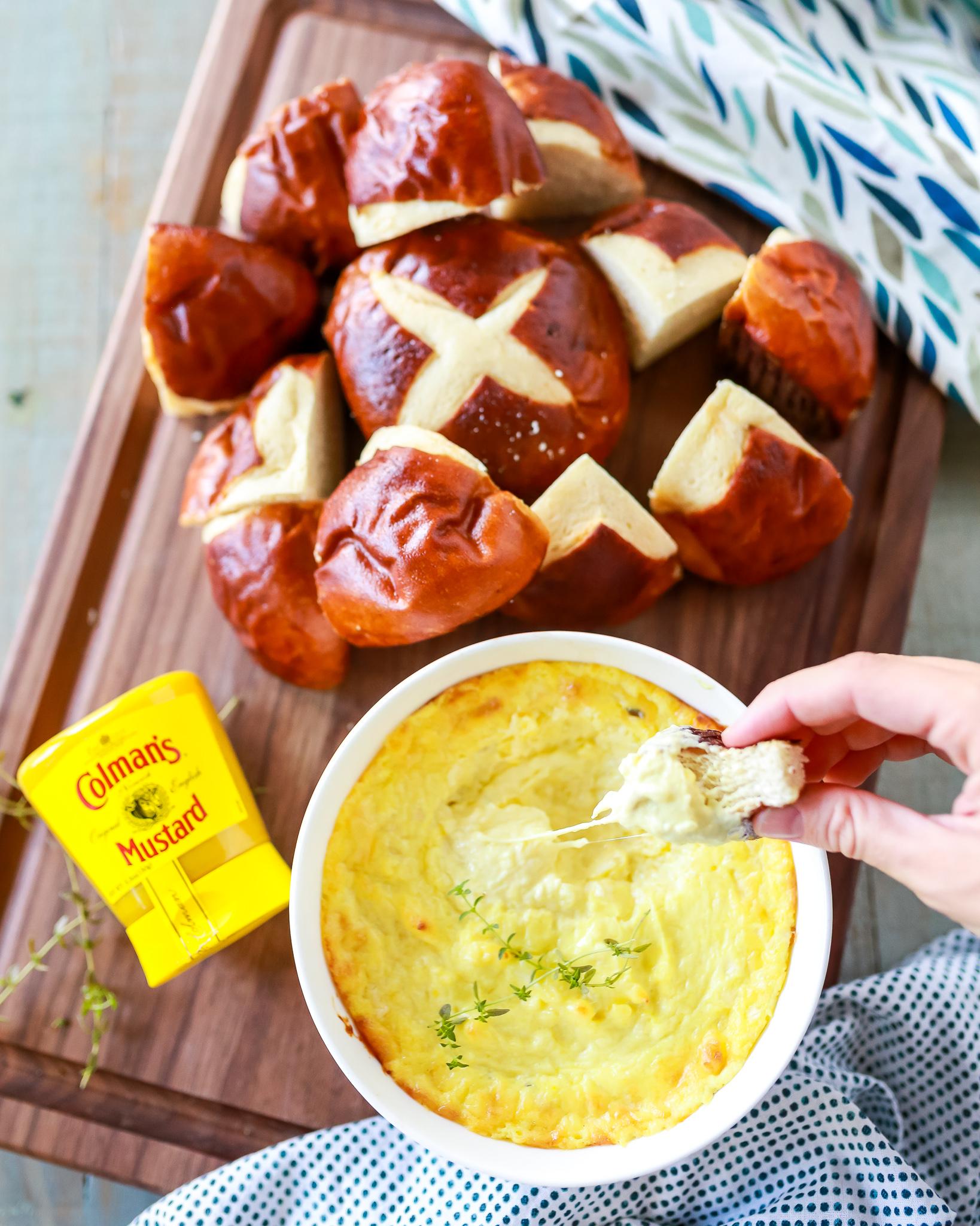 Amazing pretzel mustard cheese dip recipe!