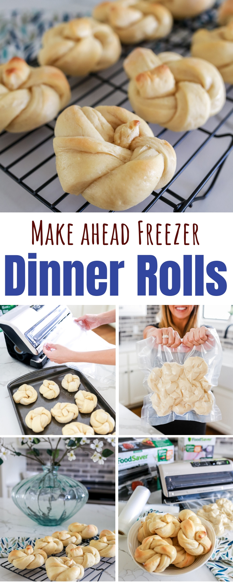 Freezer rolls: fast & easy recipe for delicious Dinner Rolls that you can make ahead of time and then freeze until you're ready to bake and serve.
