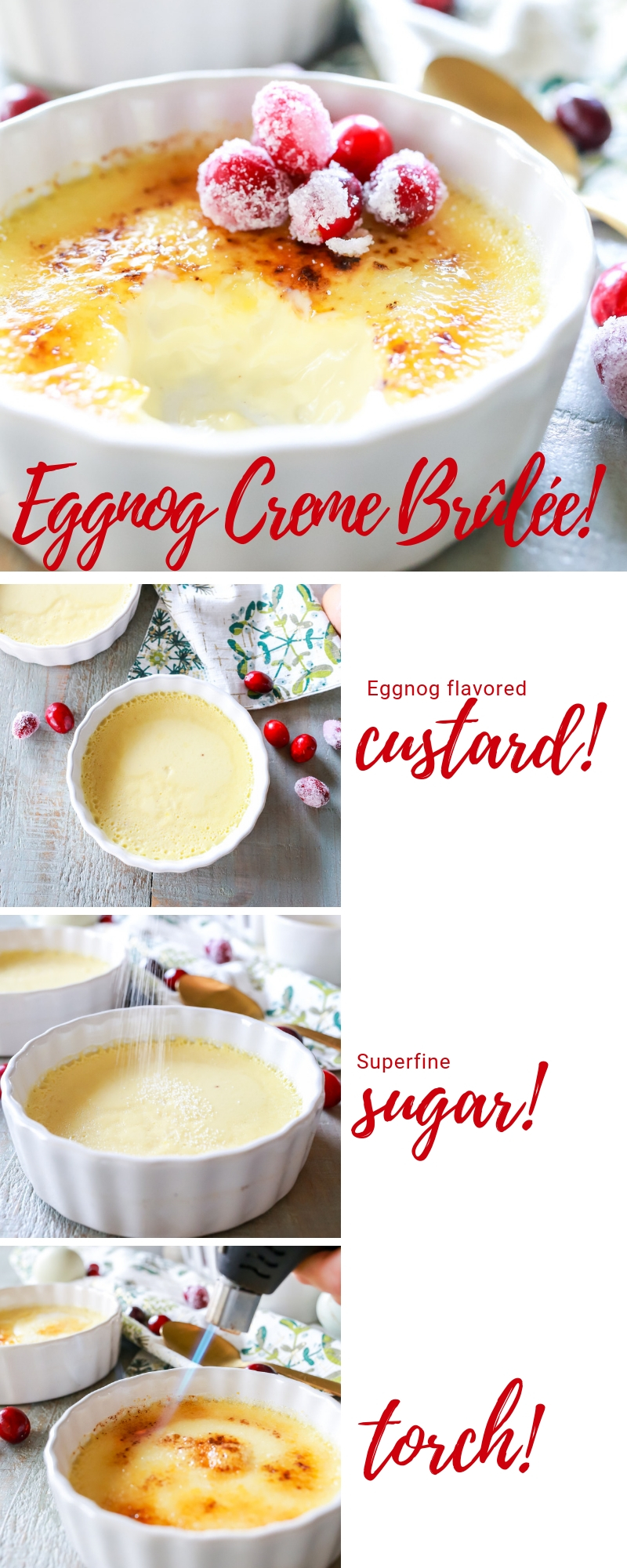 fool proof eggnog creme brûlée recipe that tastes like Christmas!