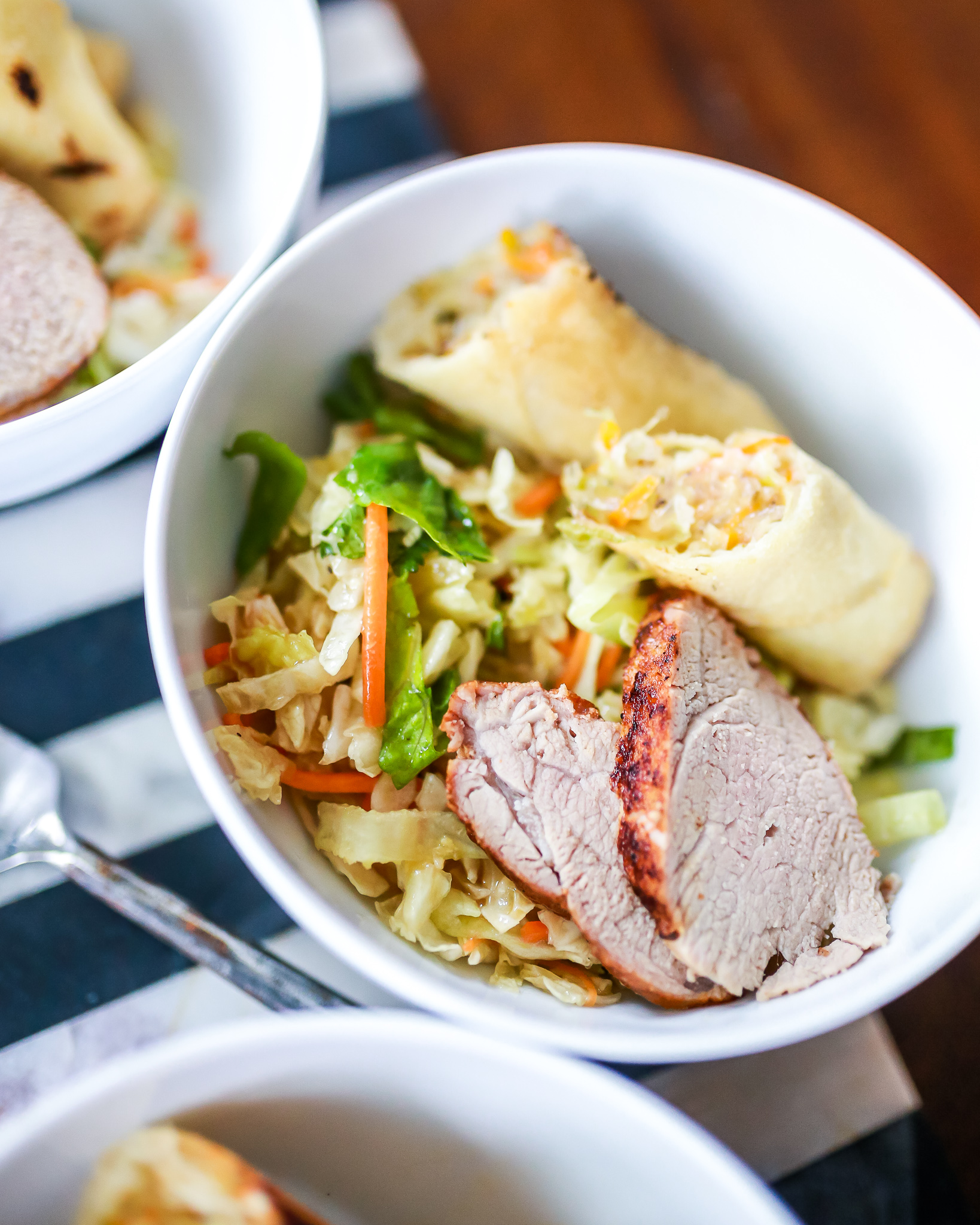 Lemon Rosemary roasted pork tenderloin with asian salad
